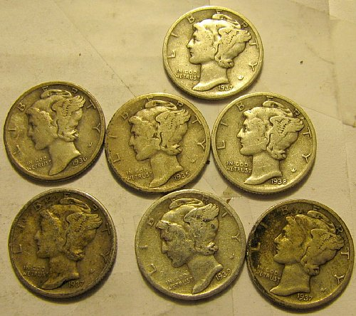 7 Mercury Dimes all S's    B-08  $1.39 ea.  1 Time $ A L E  ++