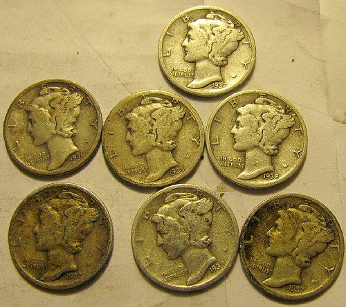 7 Mercury Dimes all S's    B-08  $1.39 ea.  1 Time $ A L E  ++