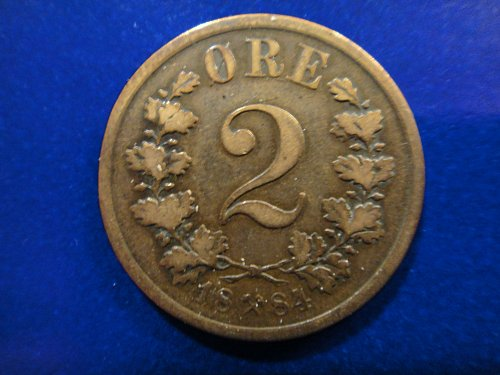 NORWAY 2 Ores 1884 Very Fine-20 KM#353 Nice Coin With Minimal Marks!