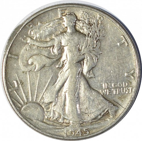1945 Walking Liberty Half Dollar, (Item 129)
