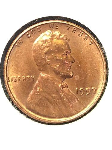1957 P Wheat Cent AU50