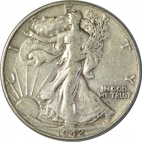 1942 Walking Liberty Half Dollar, (Item 139)