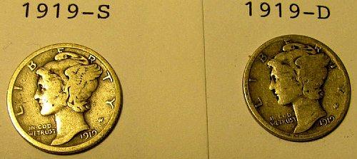 1919 D  & S Mercury Dimes   K-03