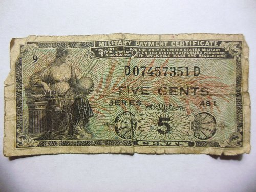 5 Cents Military Payment Certificate, Series 481