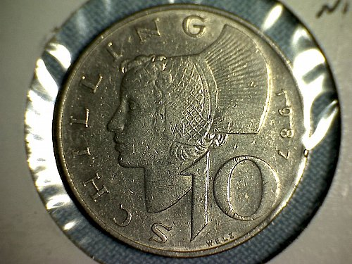 1987 AUSTRIA TEN SCHILLINGS