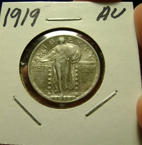1919 AU Standing Liberty Quarter Free Shipping