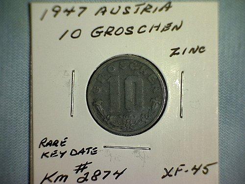 1947 AUSTRIA TEN GROSCHEN