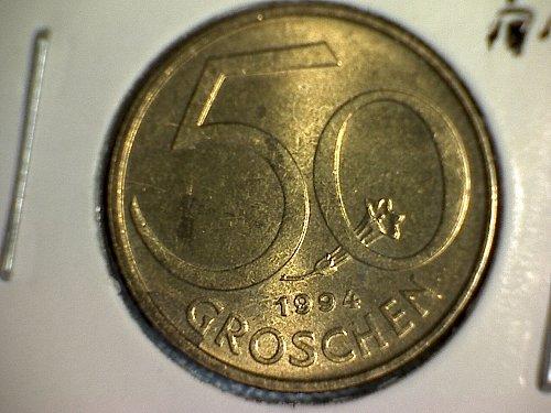 1994 AUSTRIA FIFTY GROSCHEN
