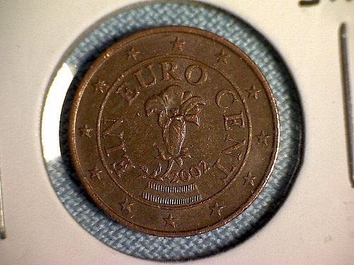 2002 AUSTRIA ONE EURO CENT