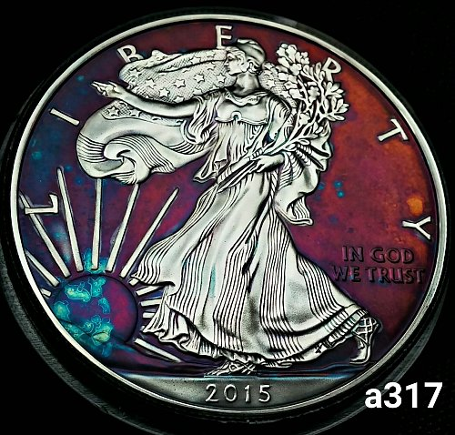2015 Rainbow Toned Silver American Eagle 1 troy ounce silver #a317