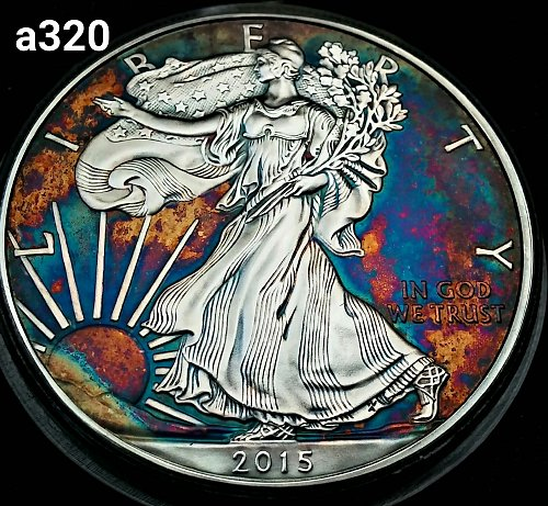 2015 Rainbow Toned Silver American Eagle 1 troy ounce silver #a320