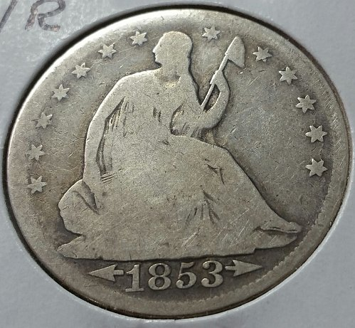 1853 Seated Liberty Half Dollar - with arrows and rays - Good
