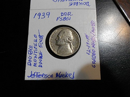 1939-p Jefferson Nickel  DDR FS801  XF45/AU50  Doubled Monticello  Doubled Five