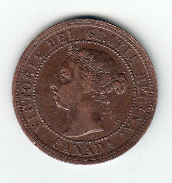 Canadian: 1890 H One Cent Victoria Penny /  MC69