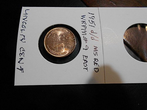1951-d/d  Lincoln Wheat Cent  rpm#9  east   MS CHOICE RED
