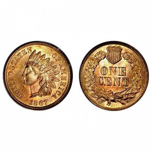 1867 Indian Head Cent - Choice BU - 4 Diamonds