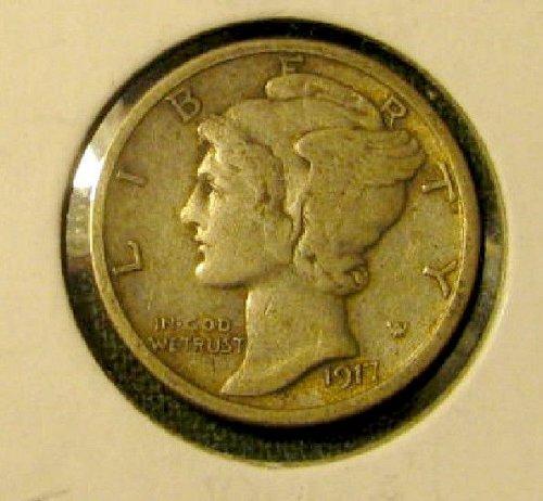 Silver Mercury Dime 1917-D  Nice  A-66** & 3 1930's Dimes FREE/////