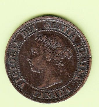 Canadian: 1891  LLSD   One Cent Victoria Penny- VF  /  MC76