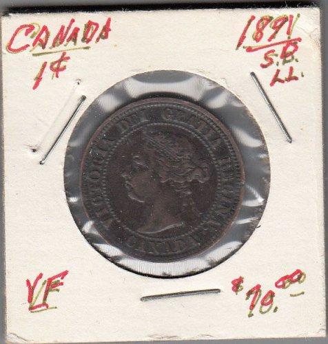 Canadian: 1891  LLSD   One Cent Victoria Penny- VF  /  MC76