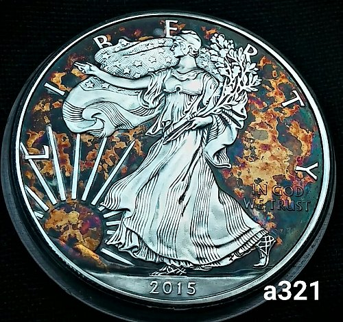 2015 Rainbow Toned Silver American Eagle 1 troy ounce silver #a321