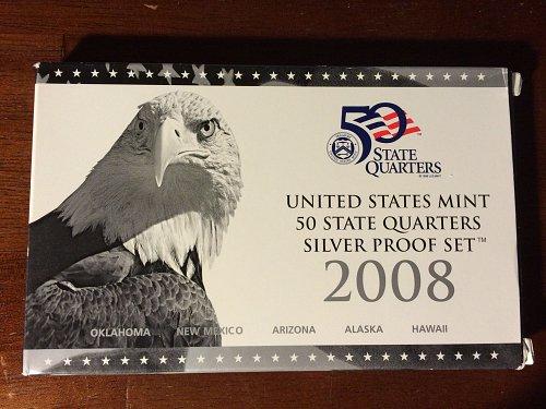 2008 US Mint 50 State Quarters Silver Proof Set