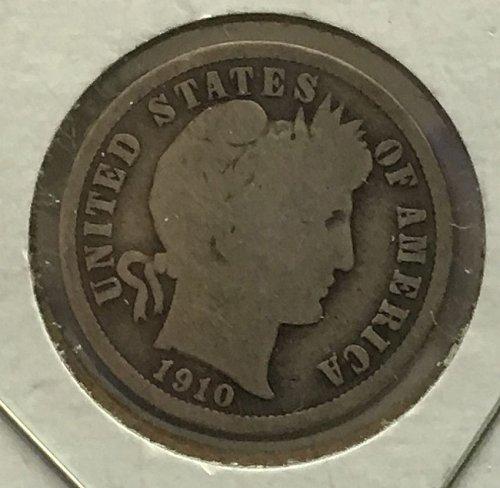 1910 P Barber Dime