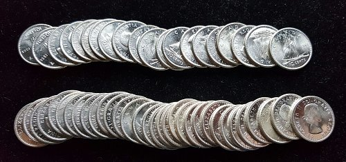 52 Really Nice BU 80% Silver Canadian Dimes