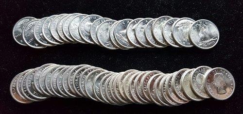 52 Really Nice BU 80% Silver Canadian Dimes