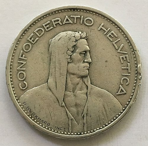 SWITZERLAND 1932 B  5 FRANCS SILVER