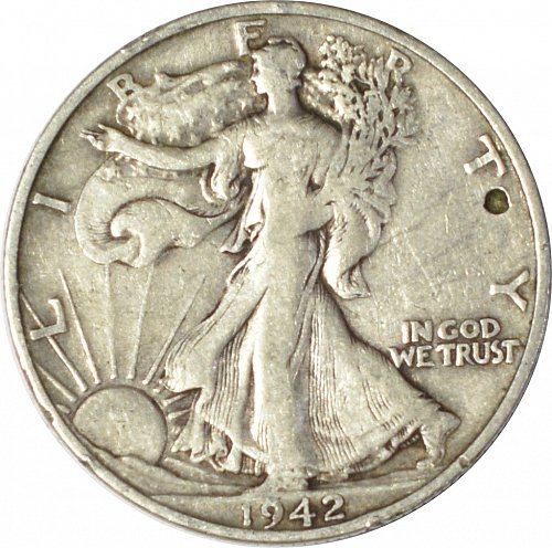 1942 S Walking Liberty Half Dollar,  (Item 124)