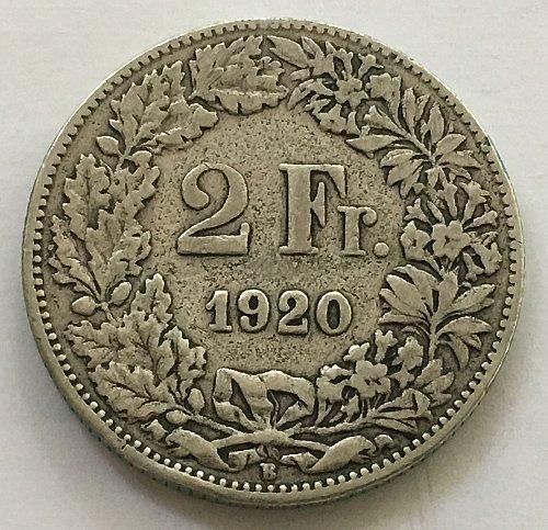 SWITZERLAND 1920 B  2 FRANCS SILVER