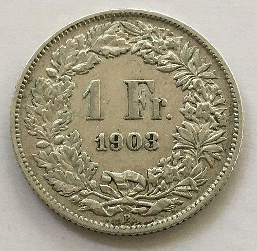 SWITZERLAND 1903 B  1 FRANC SILVER