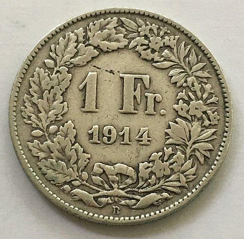 SWITZERLAND 1914 B  1 FRANC SILVER