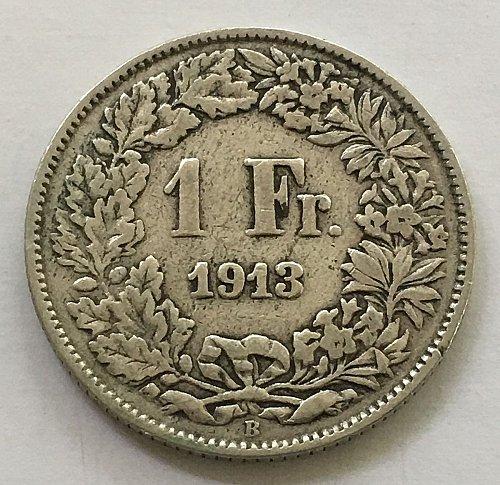SWITZERLAND 1913 B  1 FRANC SILVER