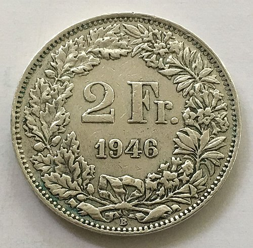 SWITZERLAND 1946 B  2 FRANCS SILVER