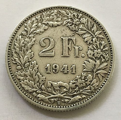 SWITZERLAND 1941 B  2 FRANCS SILVER