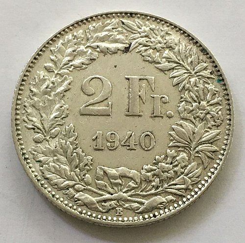 SWITZERLAND 1940 B  2 FRANCS SILVER