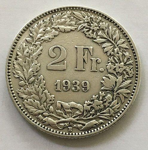 SWITZERLAND 1939 B  2 FRANCS SILVER