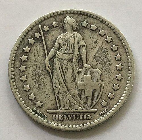 SWITZERLAND 1920 B  1 FRANC SILVER