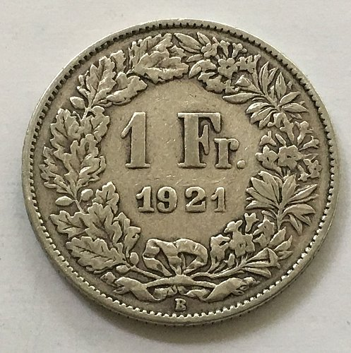 SWITZERLAND 1921 B  1 FRANC SILVER
