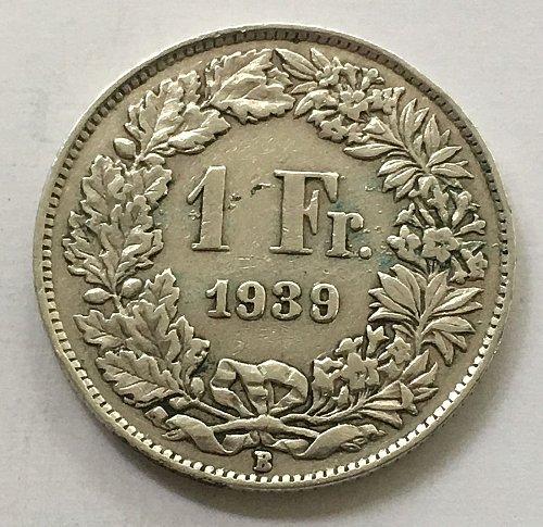 SWITZERLAND 1939 B  1 FRANC SILVER