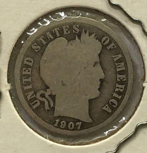 1907 D Barber Dime