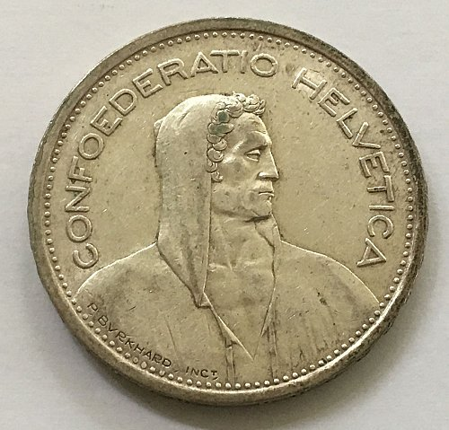 SWITZERLAND 1954 B  5 FRANCS SILVER