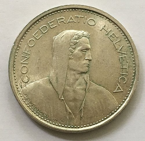 SWITZERLAND 1967 B  5 FRANCS TYPE 1 SILVER