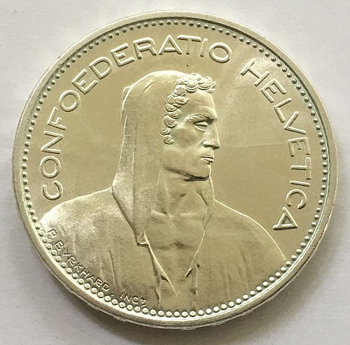 SWITZERLAND 1965 B  5 FRANCS SILVER
