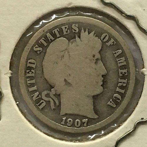 1907 P Barber Dime