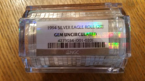 1994 20-Coin American Silver Eagles Sealed Tube NGC