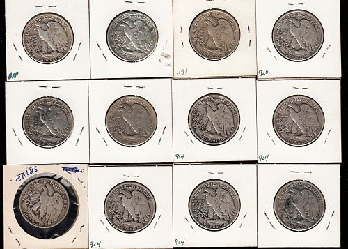Walking Liberty (12) collection : Mixed Conditions and all from 1939 / MC-79