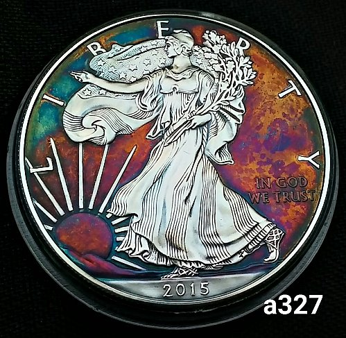2015 Rainbow Toned Silver American Eagle 1 troy ounce silver #a327