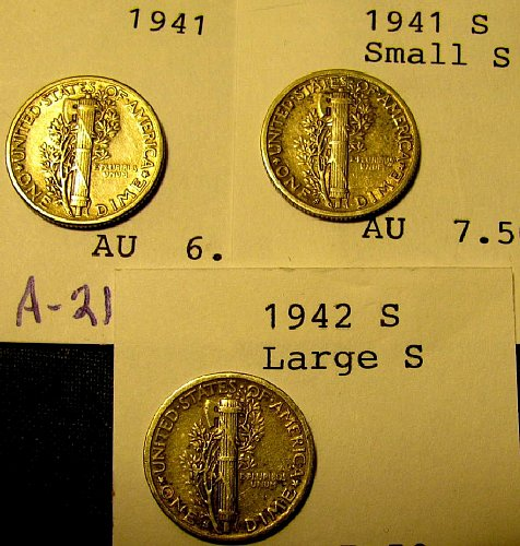 Mercury Dimes AU-58!! 1941, 41S sml. s; 42-S Lrg. S   sharp  for collector A-83